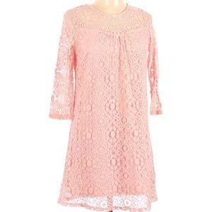 Monteau light pink blush lace long sleeve dress